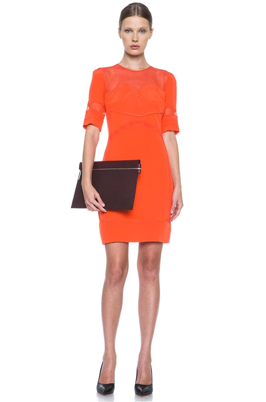 Image 5 of Victoria Victoria Beckham Tulle Insert Silk Dress in Tangerine
