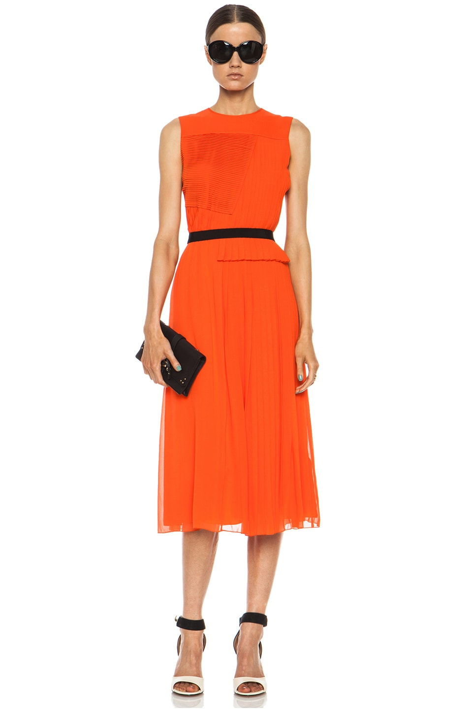 Image 1 of Victoria Victoria Beckham Multi Pleat Silk Dress in Tangerine