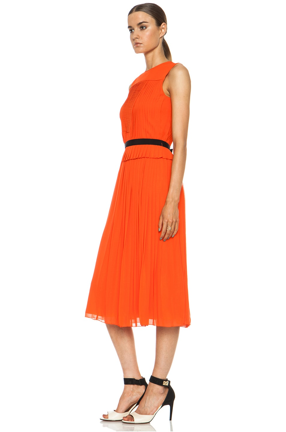 Image 2 of Victoria Victoria Beckham Multi Pleat Silk Dress in Tangerine