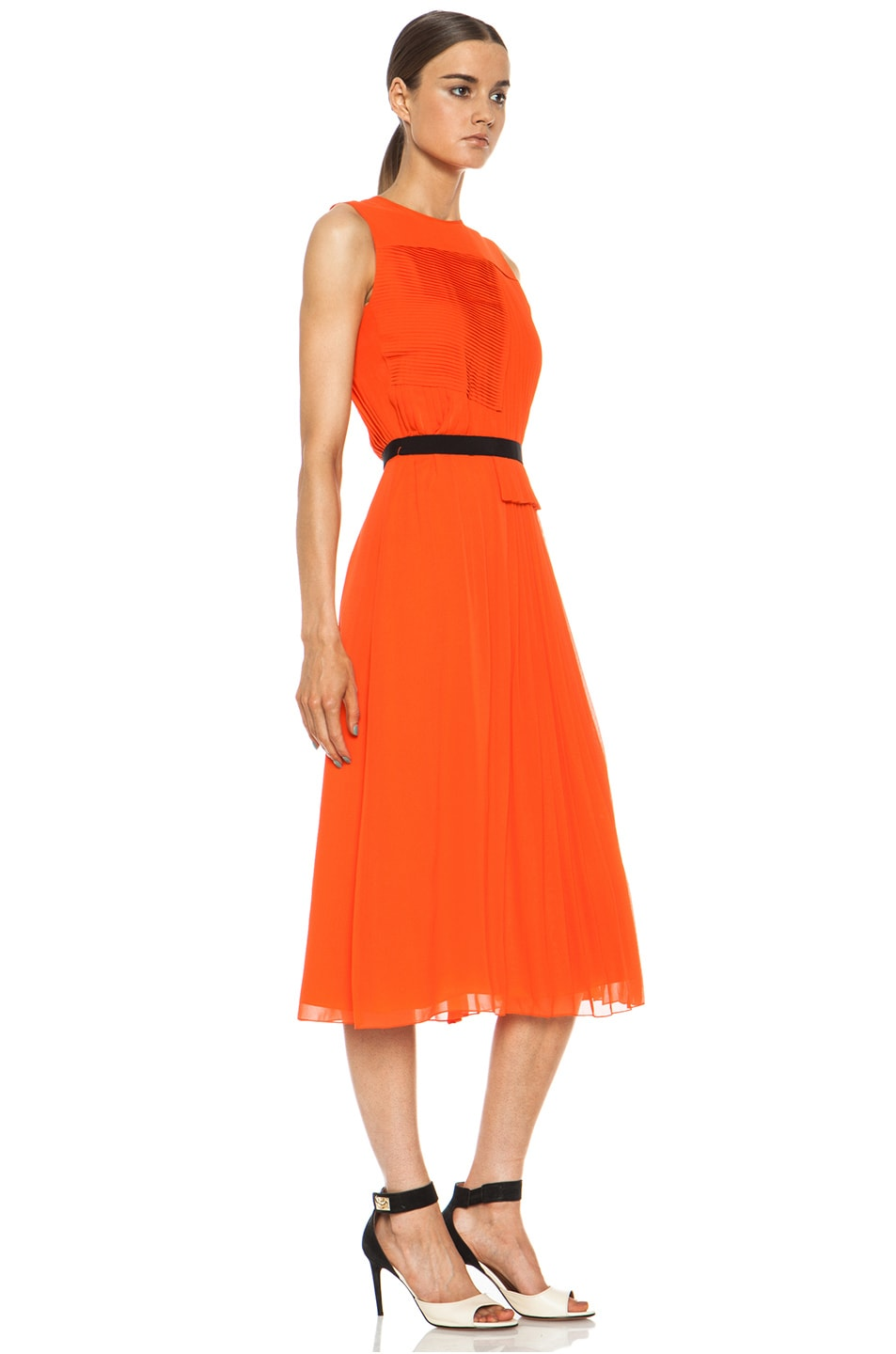 Image 3 of Victoria Victoria Beckham Multi Pleat Silk Dress in Tangerine