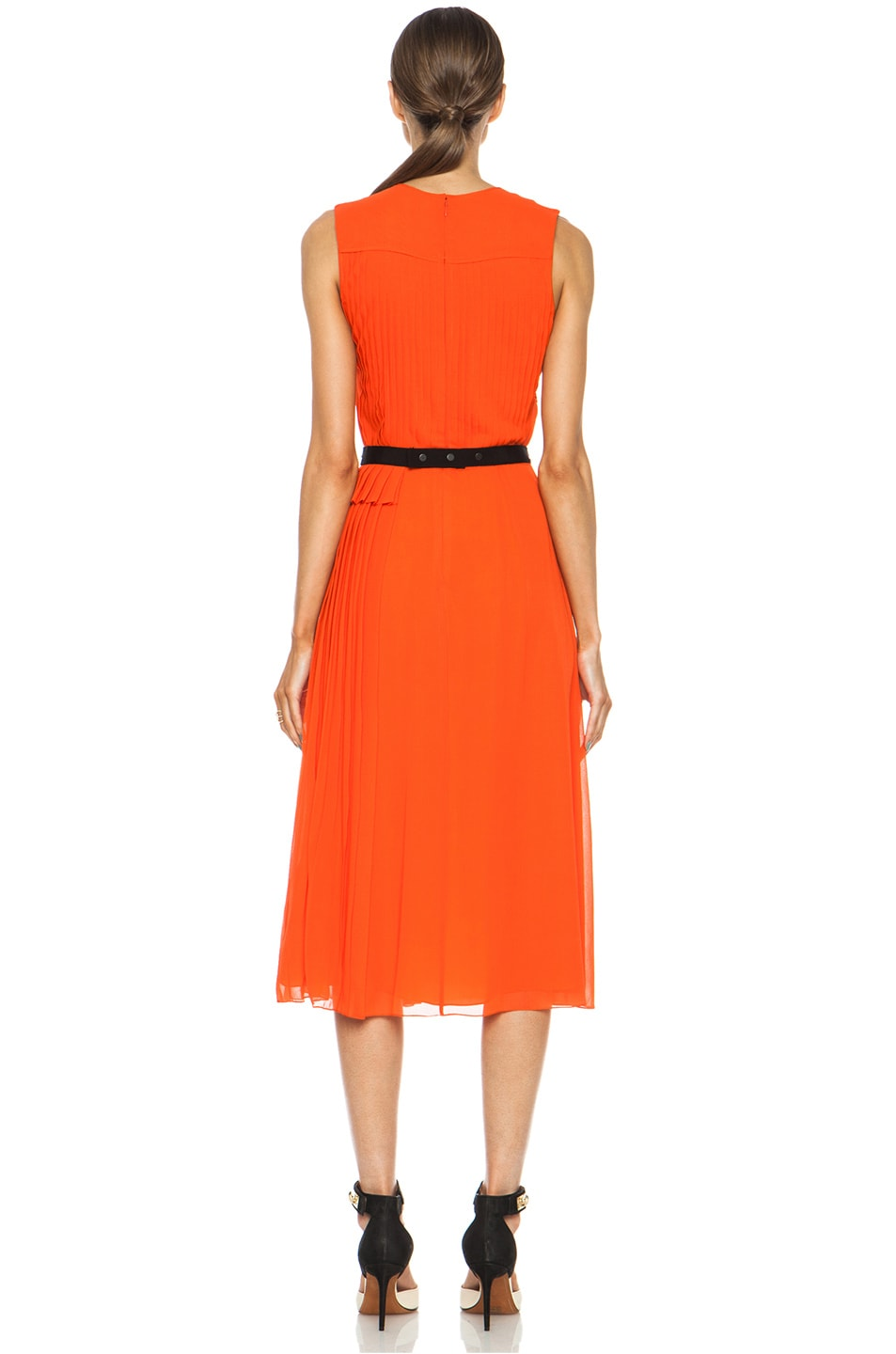 Image 4 of Victoria Victoria Beckham Multi Pleat Silk Dress in Tangerine