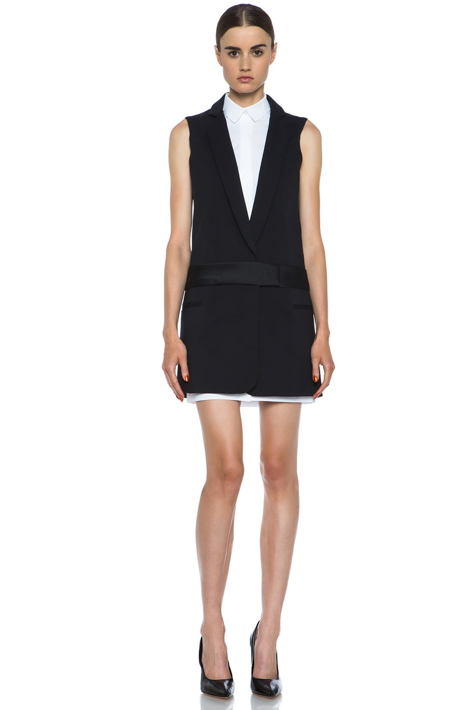 Image 1 of Victoria Victoria Beckham Tux Cotton-Blend Dress in Black & White