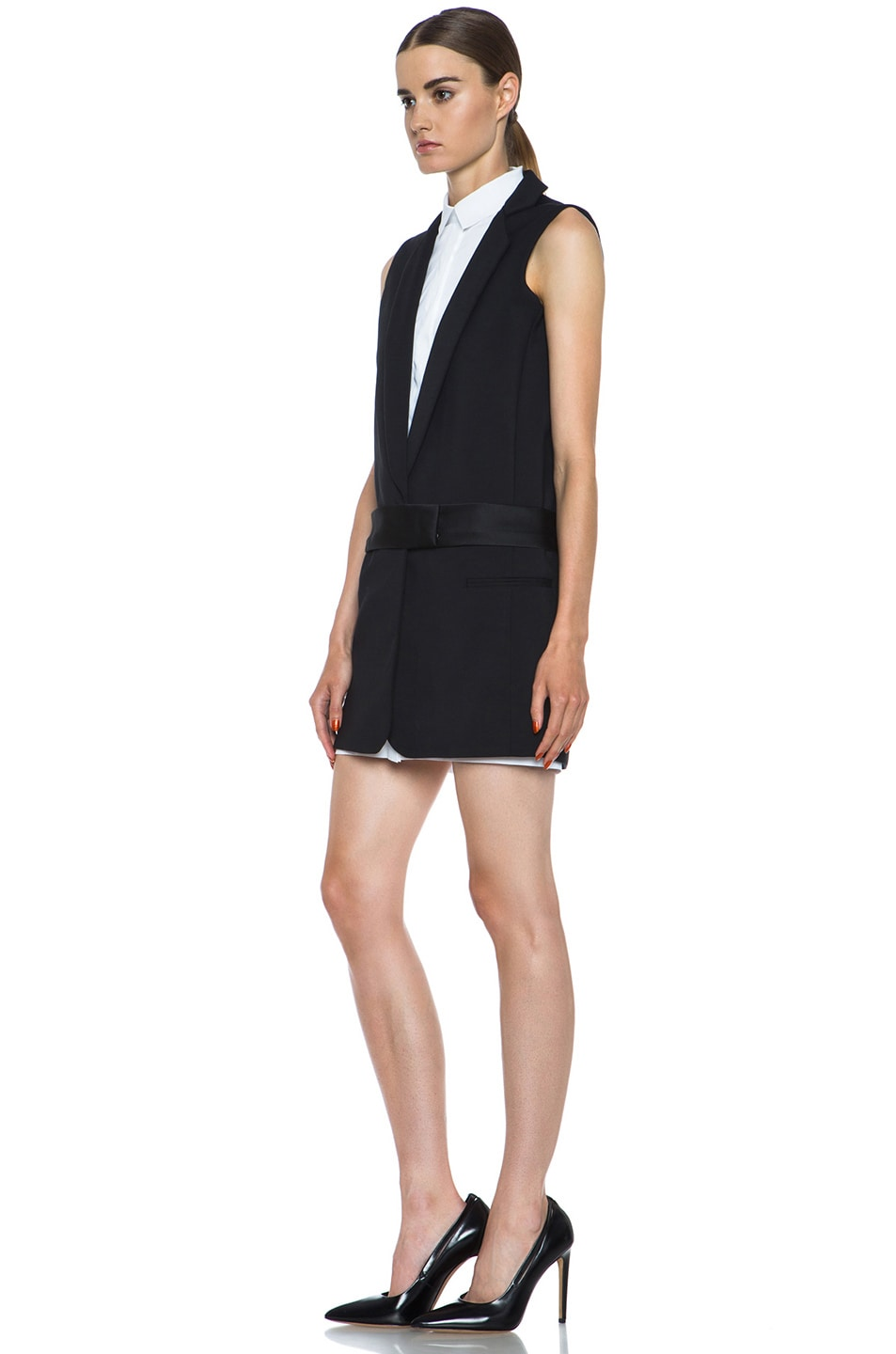 Image 2 of Victoria Victoria Beckham Tux Cotton-Blend Dress in Black & White
