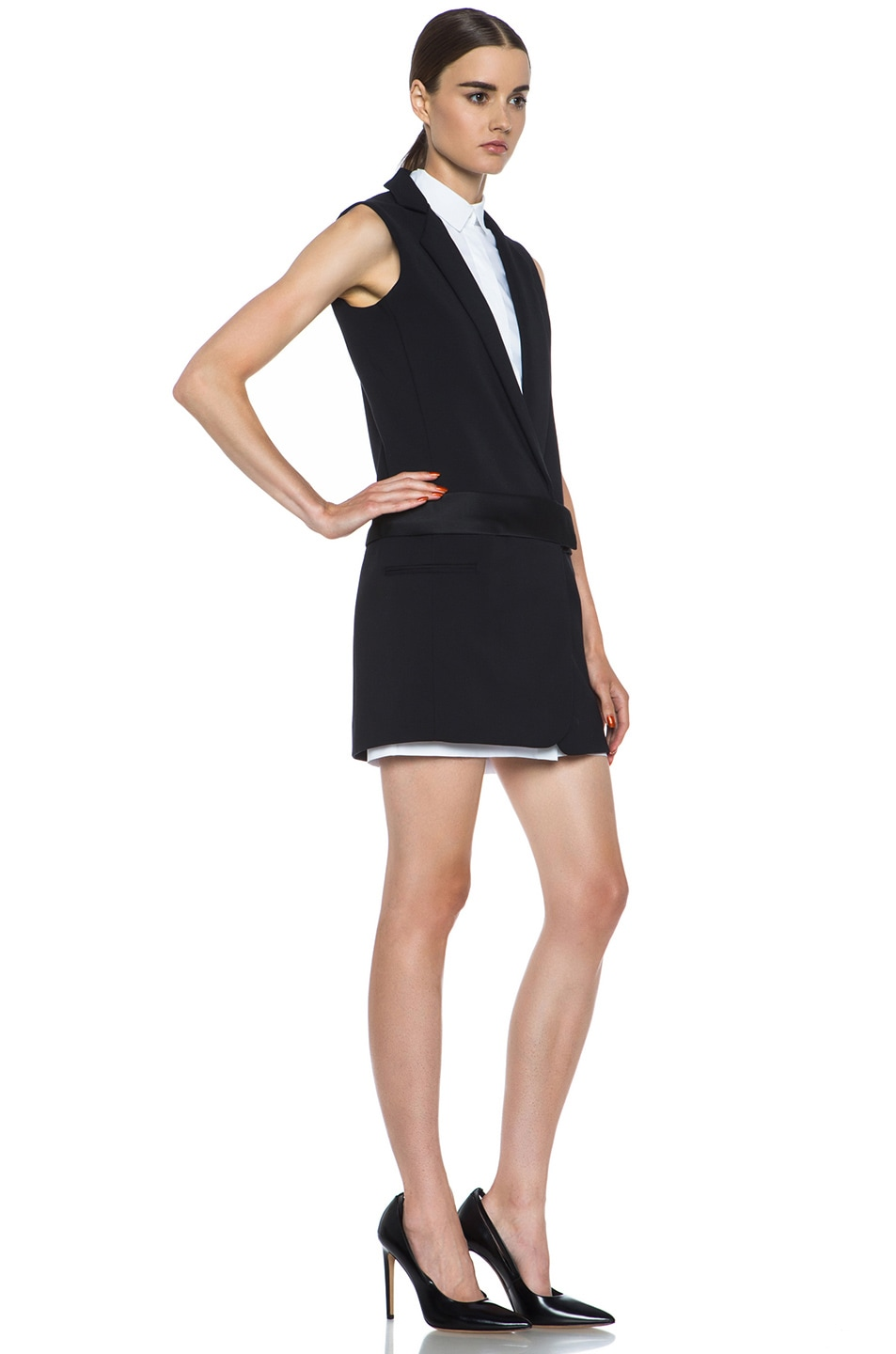 Image 3 of Victoria Victoria Beckham Tux Cotton-Blend Dress in Black & White