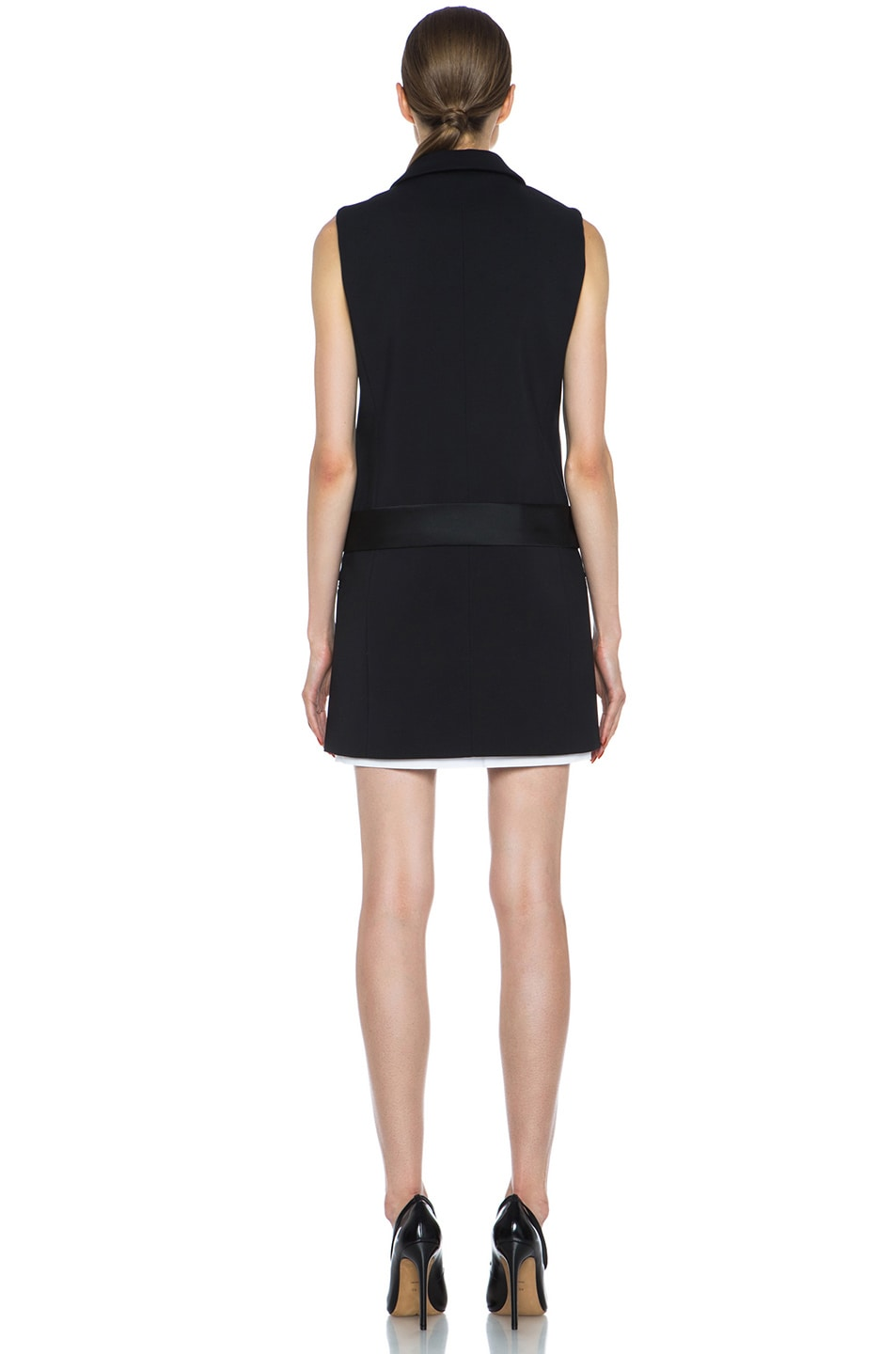 Image 4 of Victoria Victoria Beckham Tux Cotton-Blend Dress in Black & White