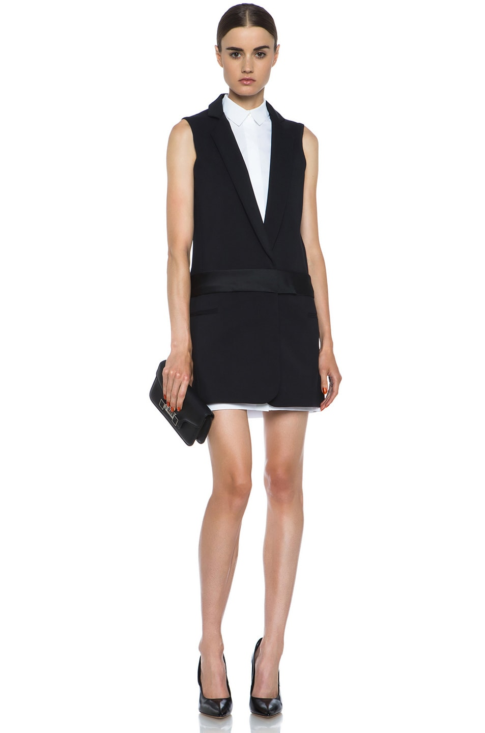 Image 5 of Victoria Victoria Beckham Tux Cotton-Blend Dress in Black & White