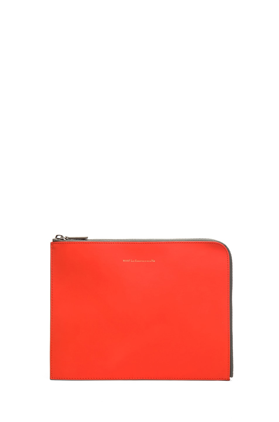 Image 1 of Want Les Essentiels De La Vie Medium Sky Harbo Leather Zip Pouch in Molten Orange