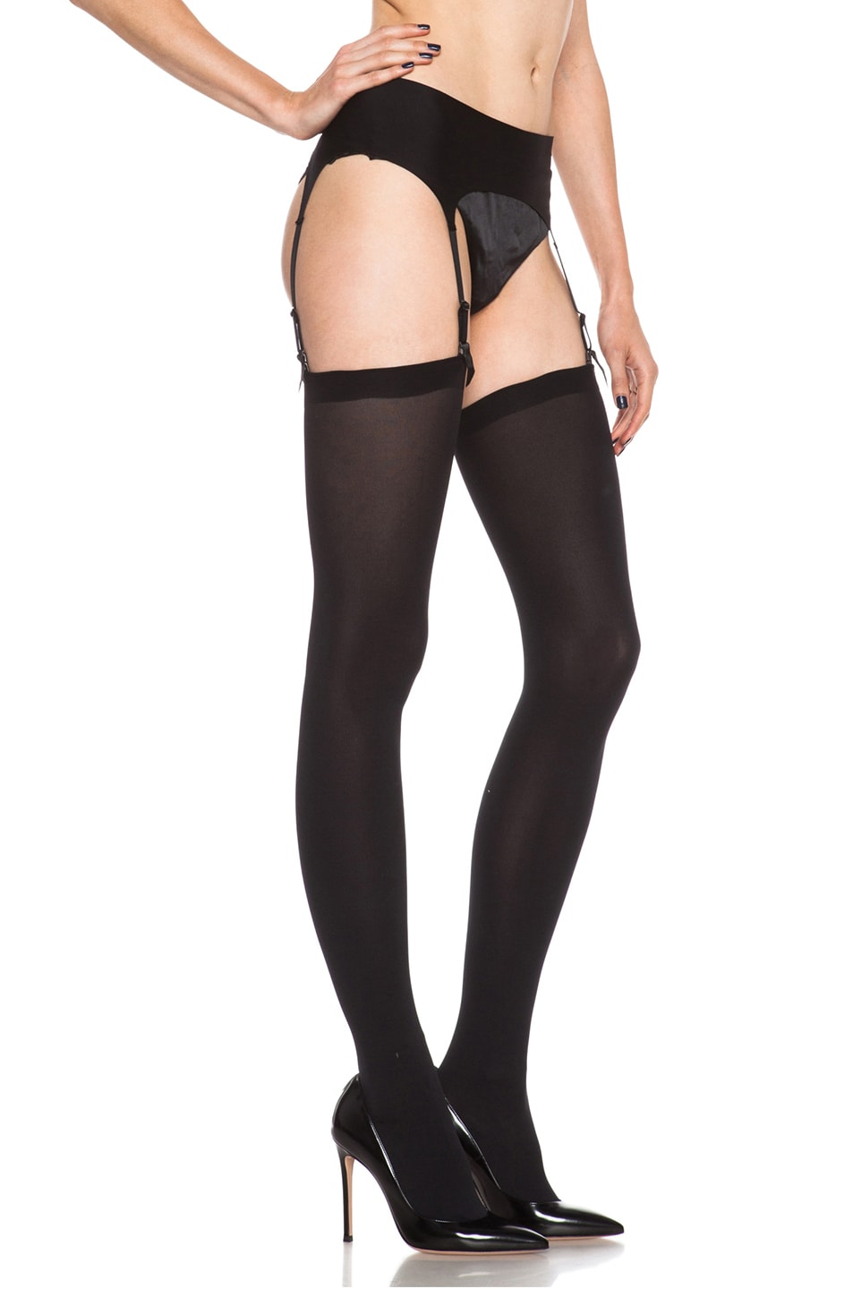 Image 3 of Wolford Satin Stocking Belt in Black