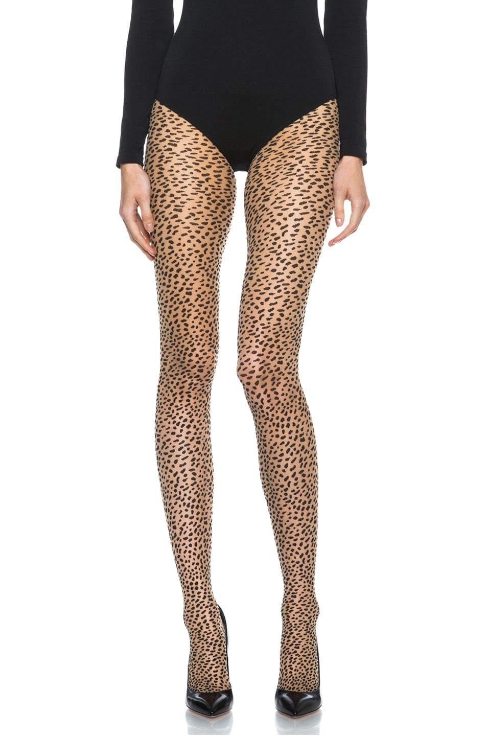 Image 1 of Wolford Baloo Nylon-Blend Tights in Sahara & Black