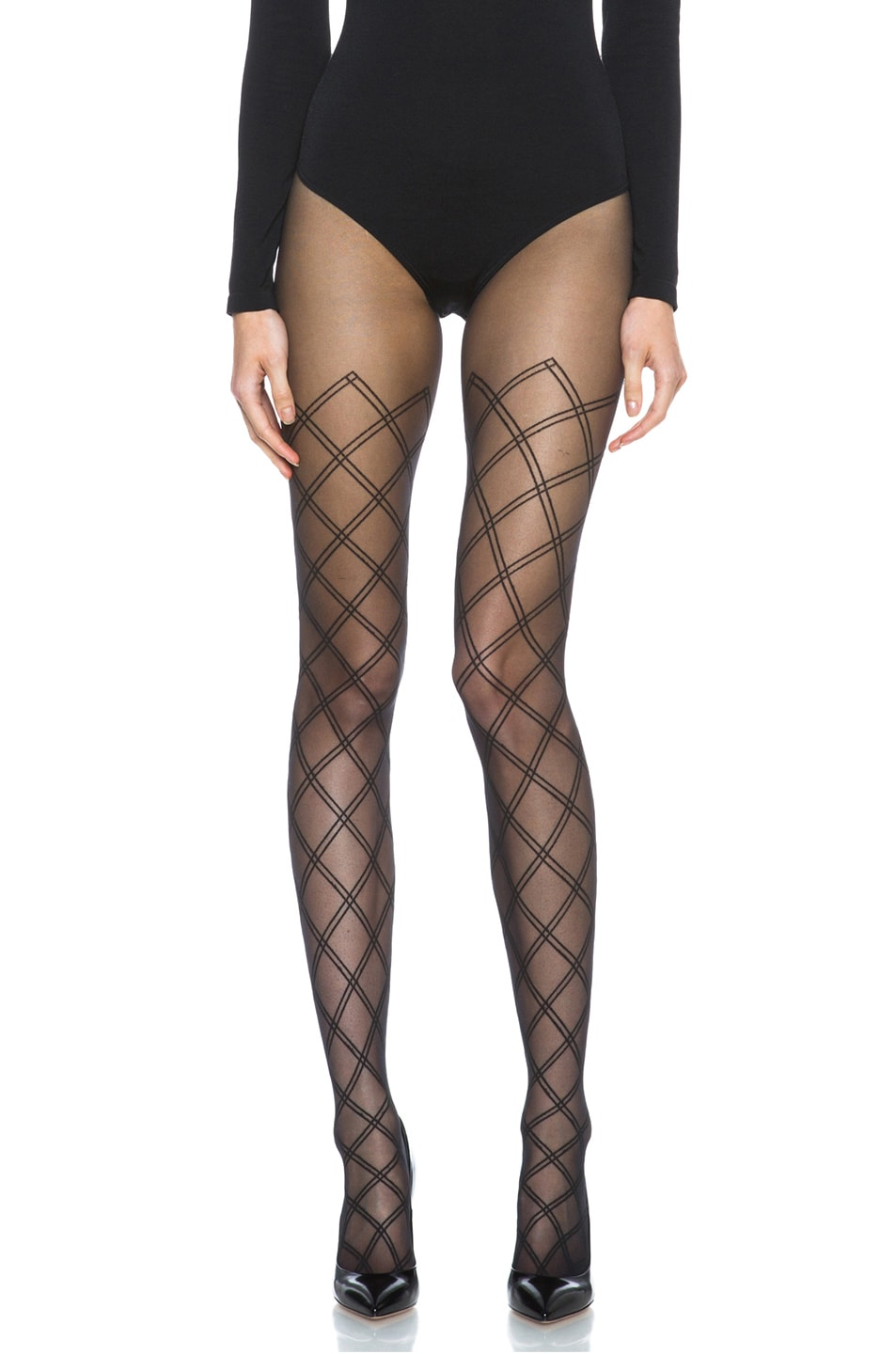 Image 1 of Wolford Cilia Nylon-Blend Tights in Black