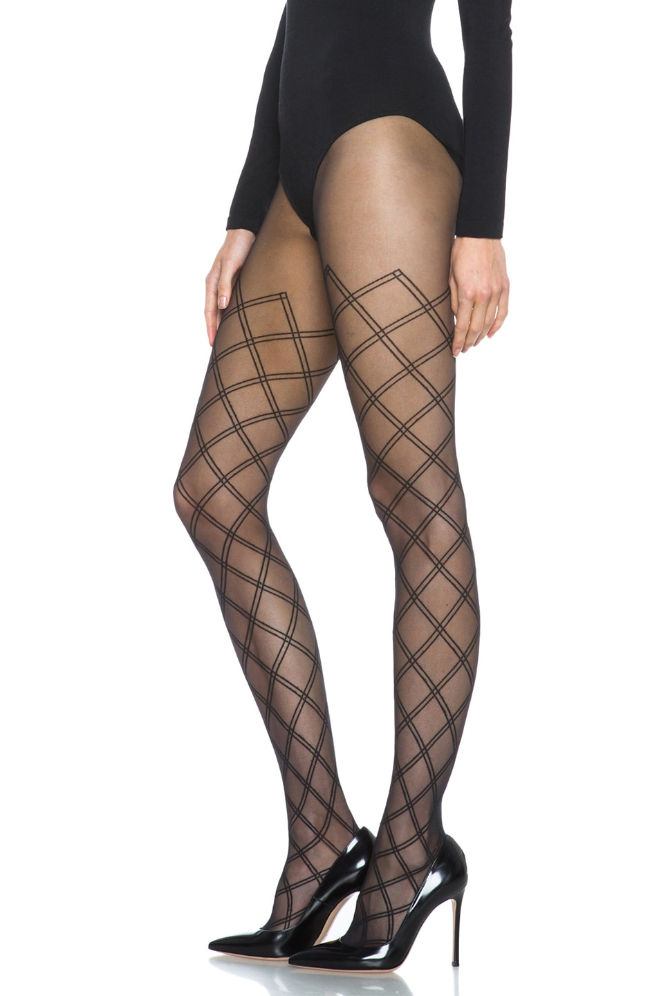 Image 2 of Wolford Cilia Nylon-Blend Tights in Black
