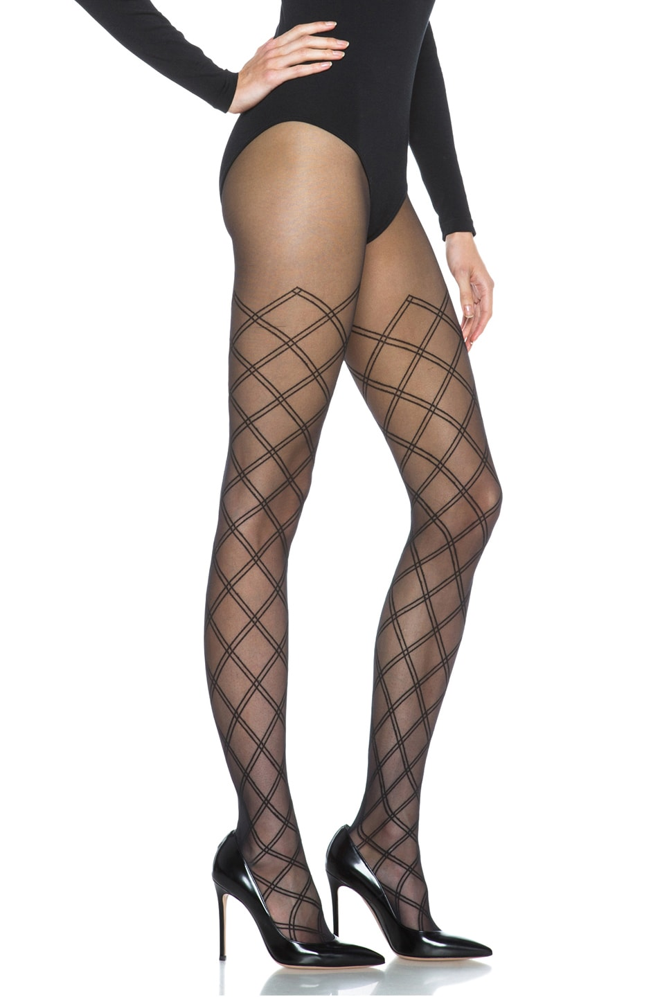 Image 3 of Wolford Cilia Nylon-Blend Tights in Black