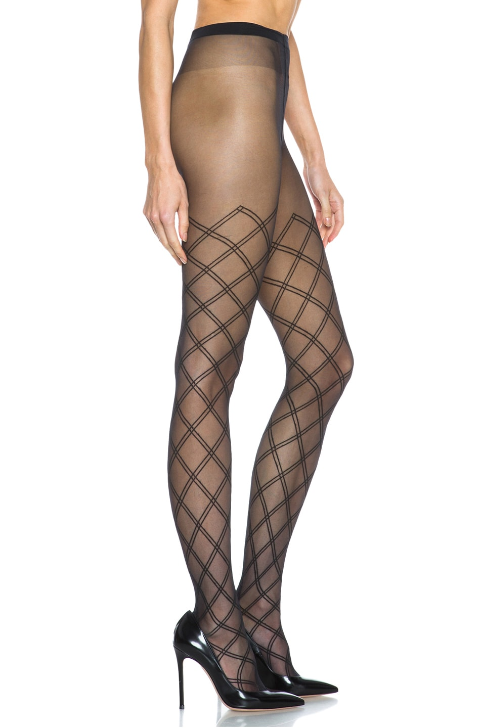 Image 5 of Wolford Cilia Nylon-Blend Tights in Black