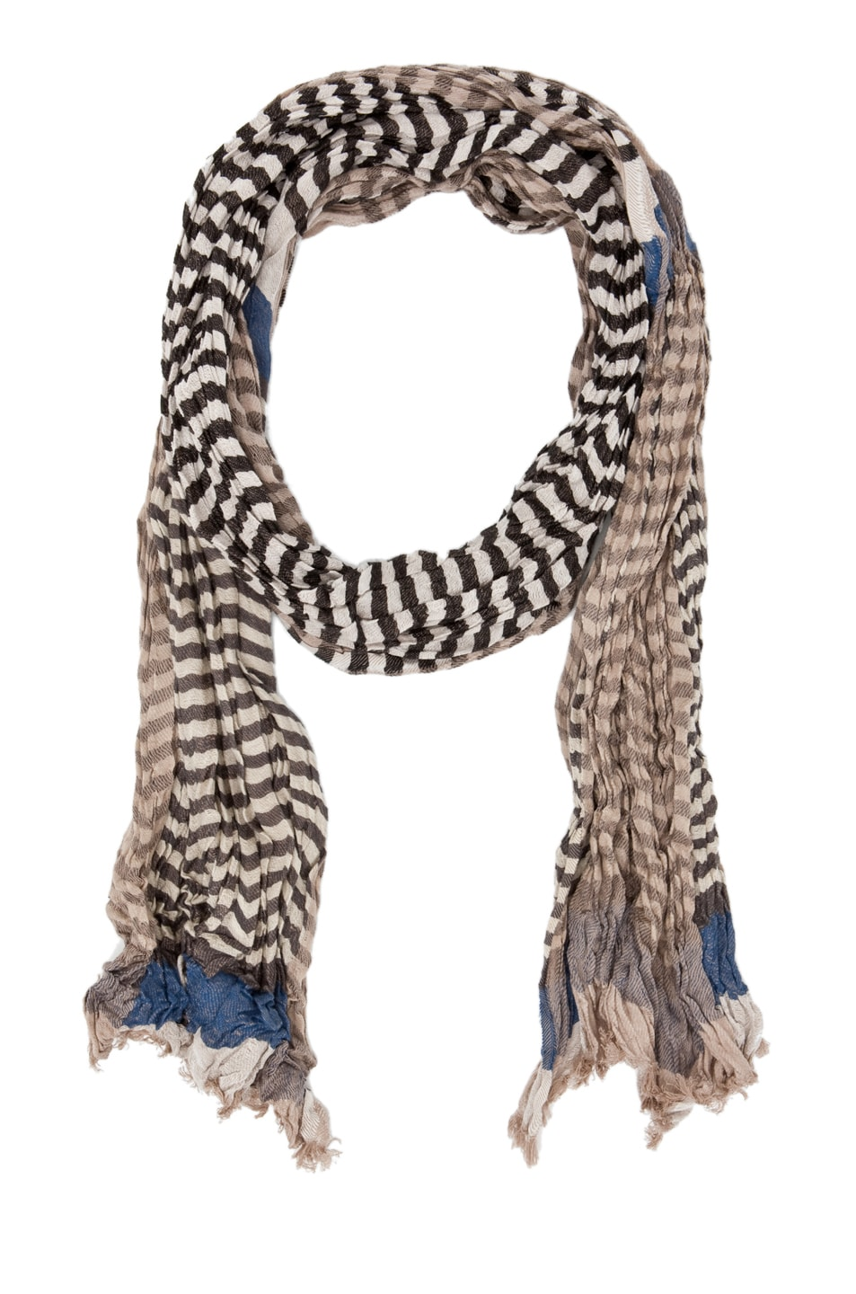 Image 1 of Yigal Azrouel Striped Jacquard Cotton Scarf in Indigo Multi