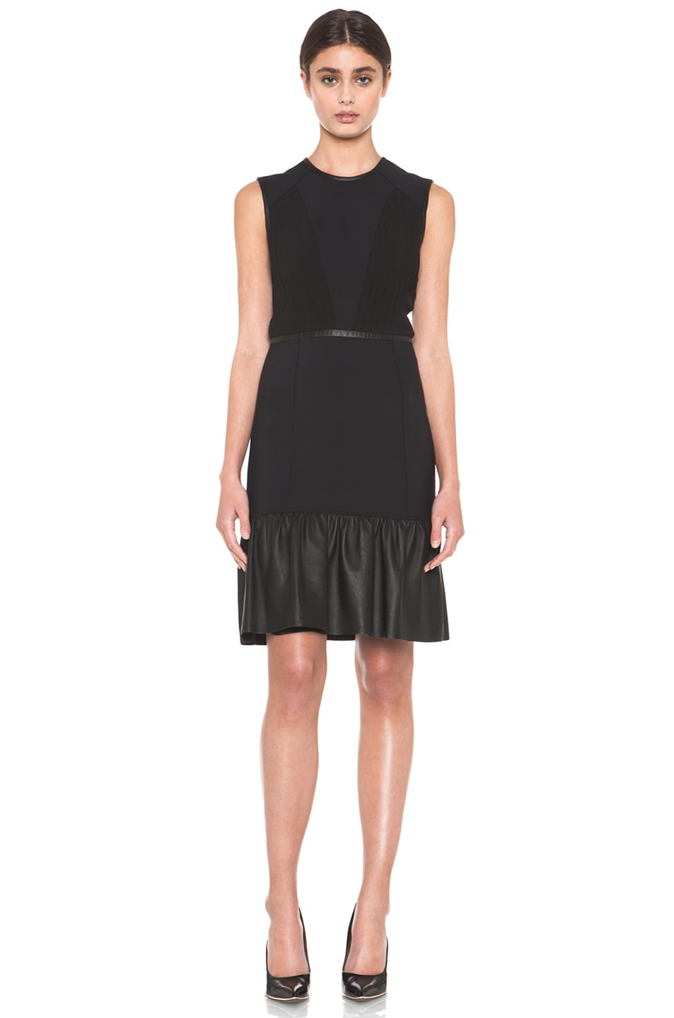 Image 1 of Yigal Azrouel Crepe Woven Dress with Leather in Jet