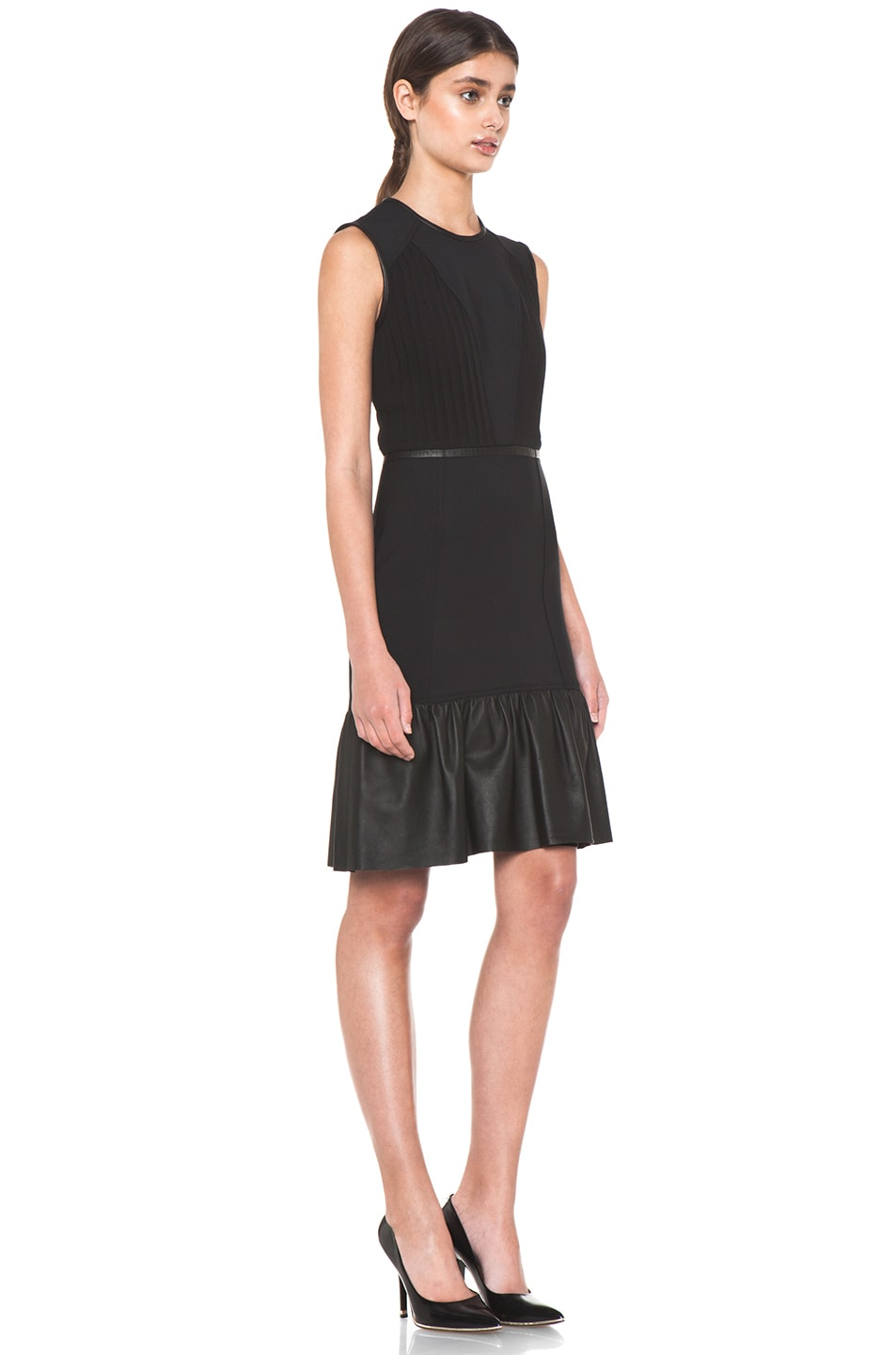 Image 3 of Yigal Azrouel Crepe Woven Dress with Leather in Jet