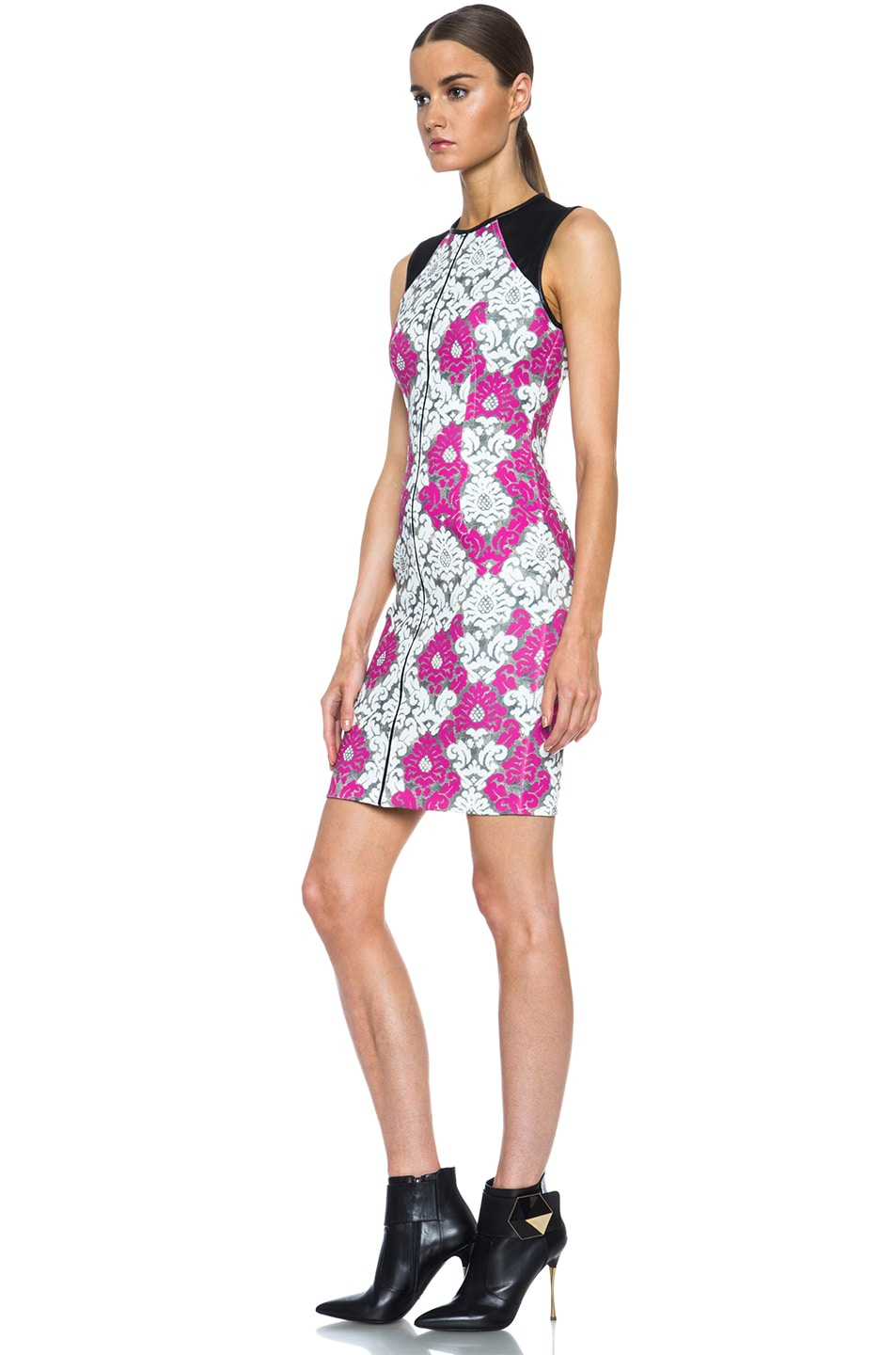 Image 2 of Yigal Azrouel Baroque Scuba Dress in White, Grey & Deep Pink