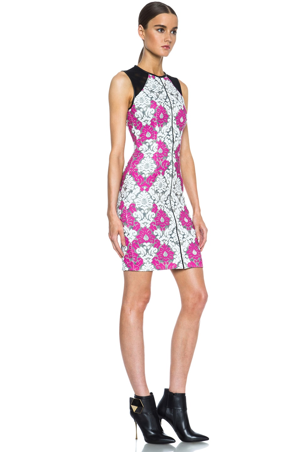 Image 3 of Yigal Azrouel Baroque Scuba Dress in White, Grey & Deep Pink