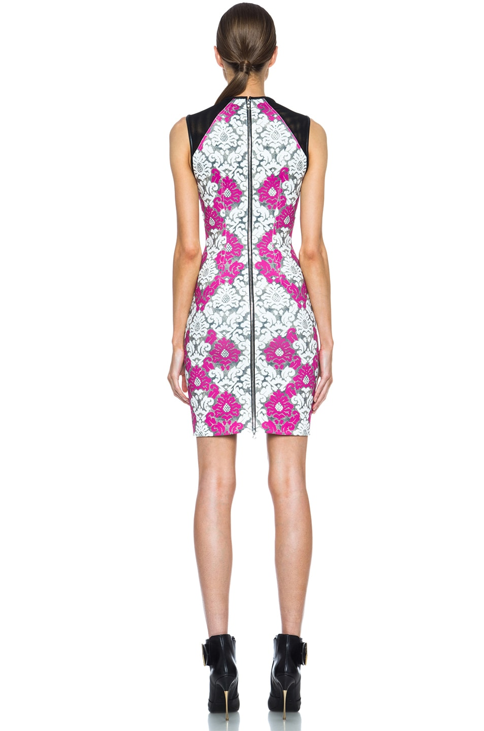 Image 4 of Yigal Azrouel Baroque Scuba Dress in White, Grey & Deep Pink