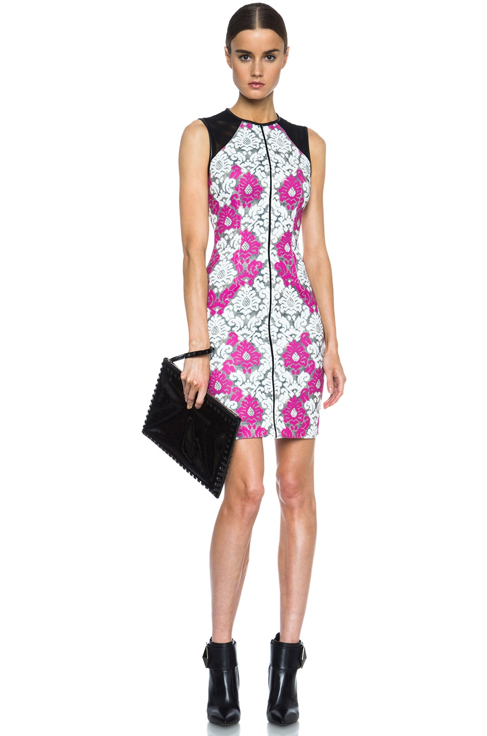 Image 5 of Yigal Azrouel Baroque Scuba Dress in White, Grey & Deep Pink