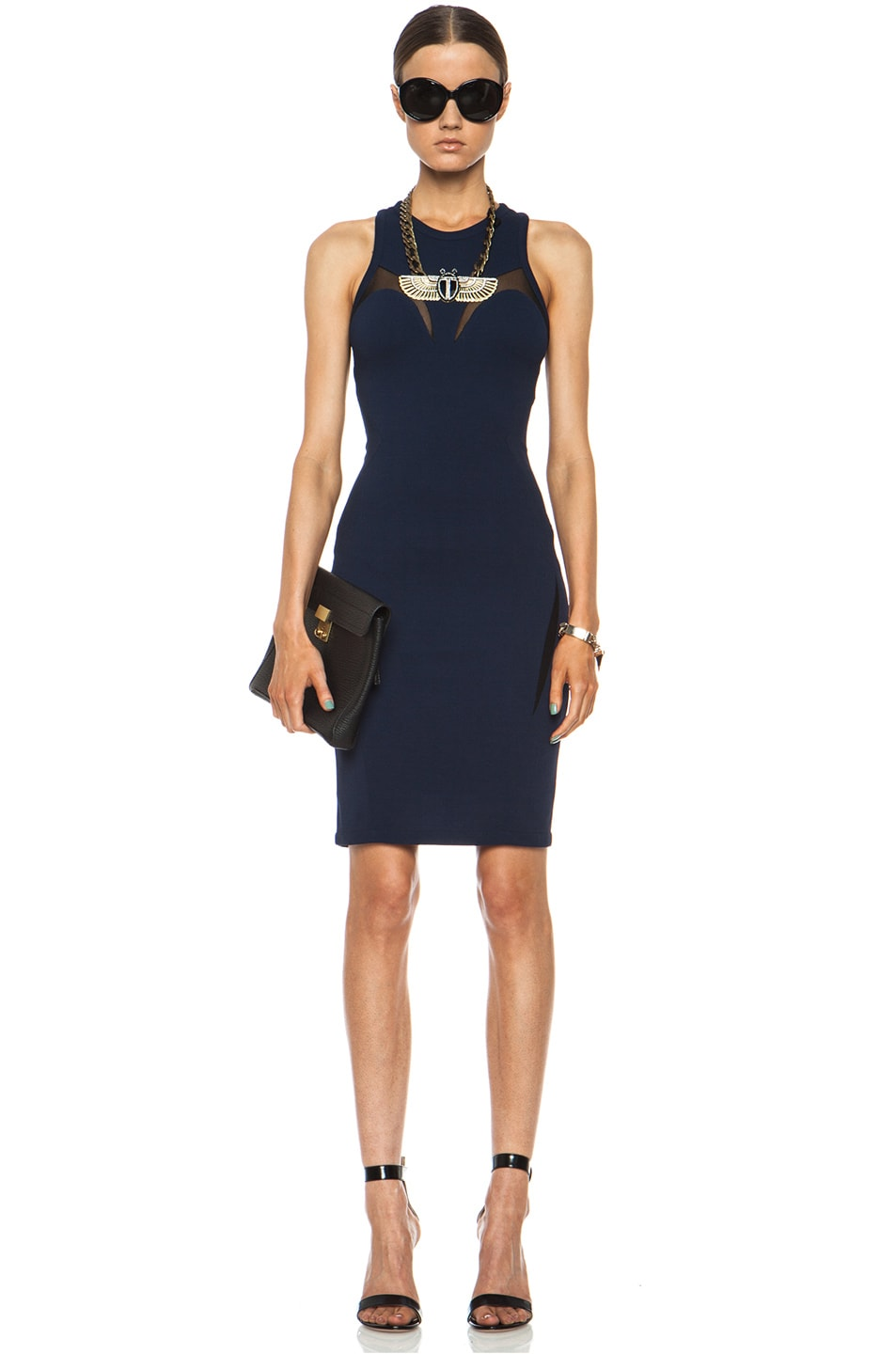 Image 1 of Yigal Azrouel Mesh Combo Viscose-Blend Dress in Mystic