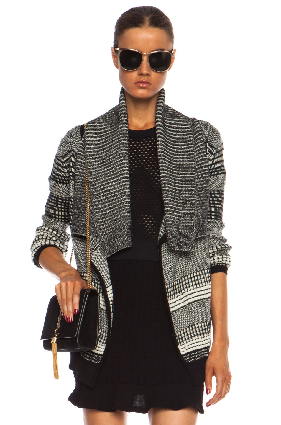 Image 1 of Yigal Azrouel Graphic Jacquard Cardigan in Jet Platinum