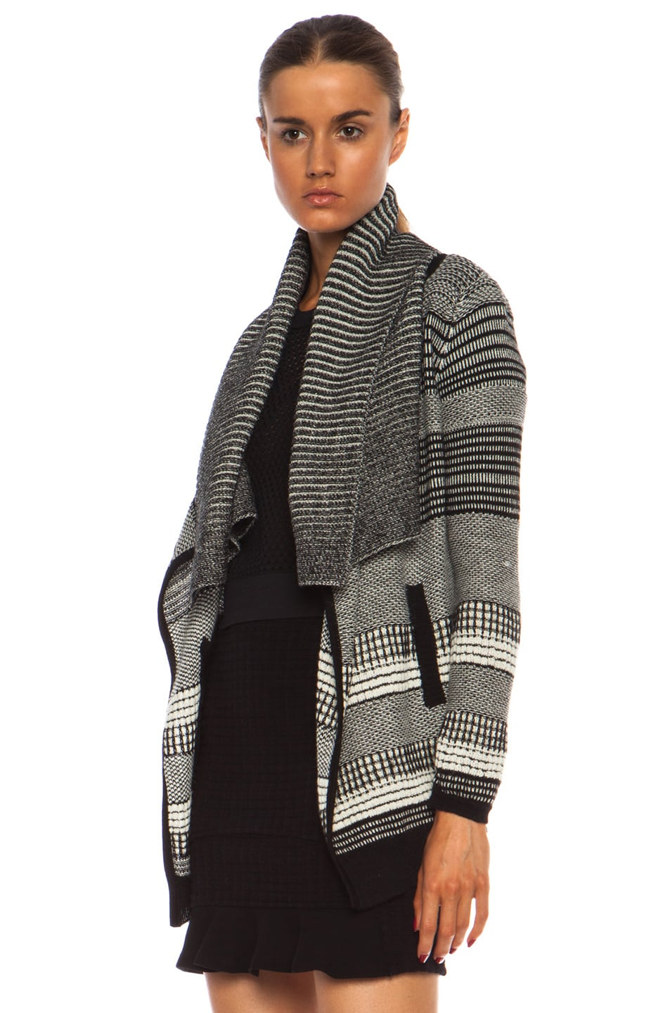 Image 2 of Yigal Azrouel Graphic Jacquard Cardigan in Jet Platinum