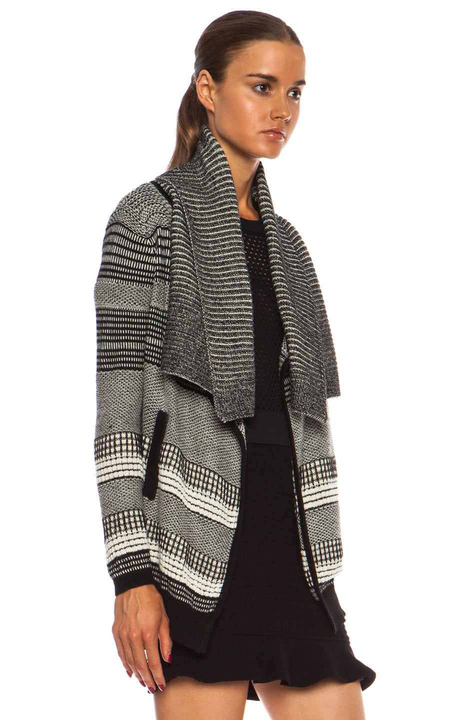 Image 3 of Yigal Azrouel Graphic Jacquard Cardigan in Jet Platinum