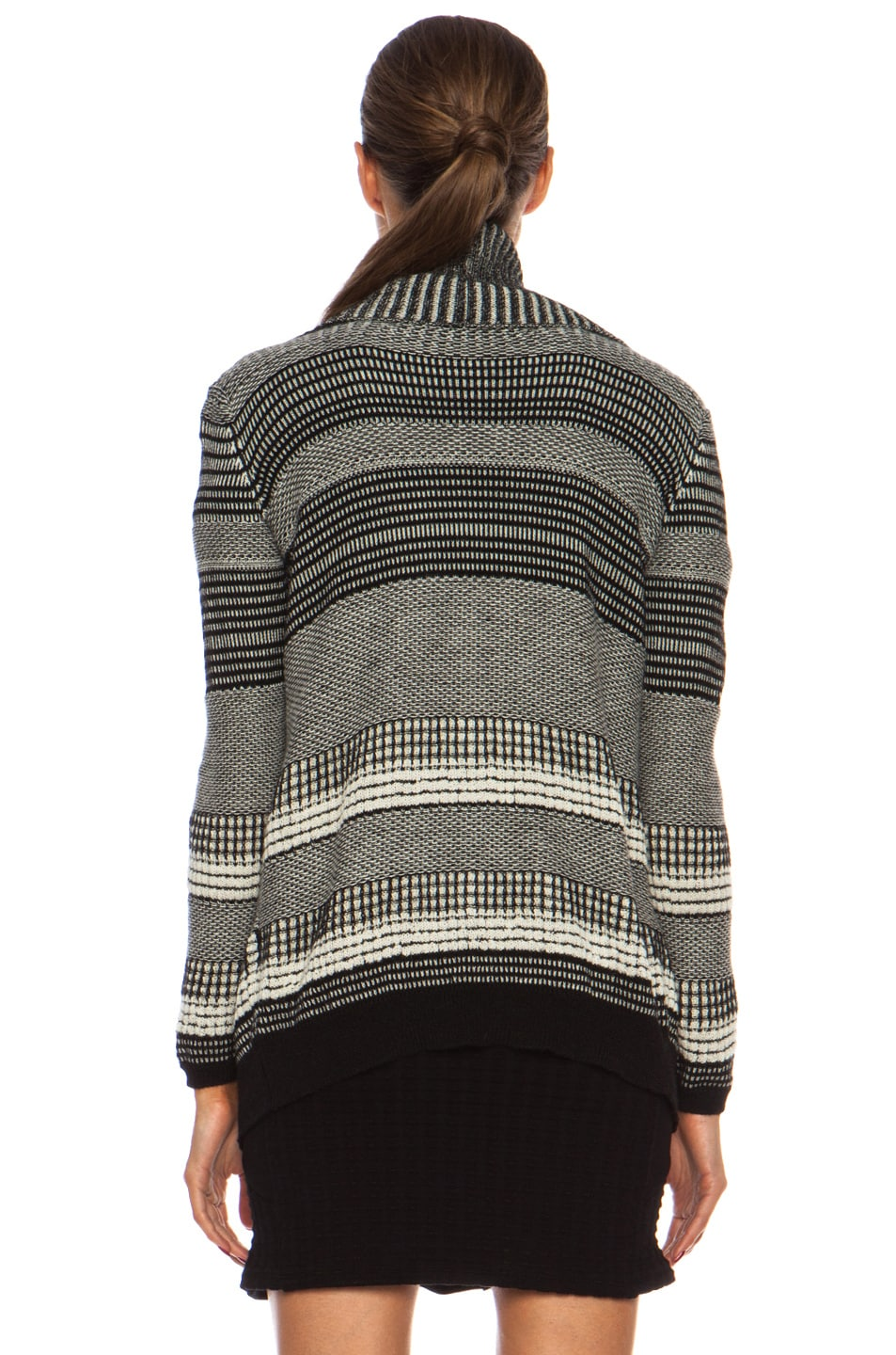Image 4 of Yigal Azrouel Graphic Jacquard Cardigan in Jet Platinum