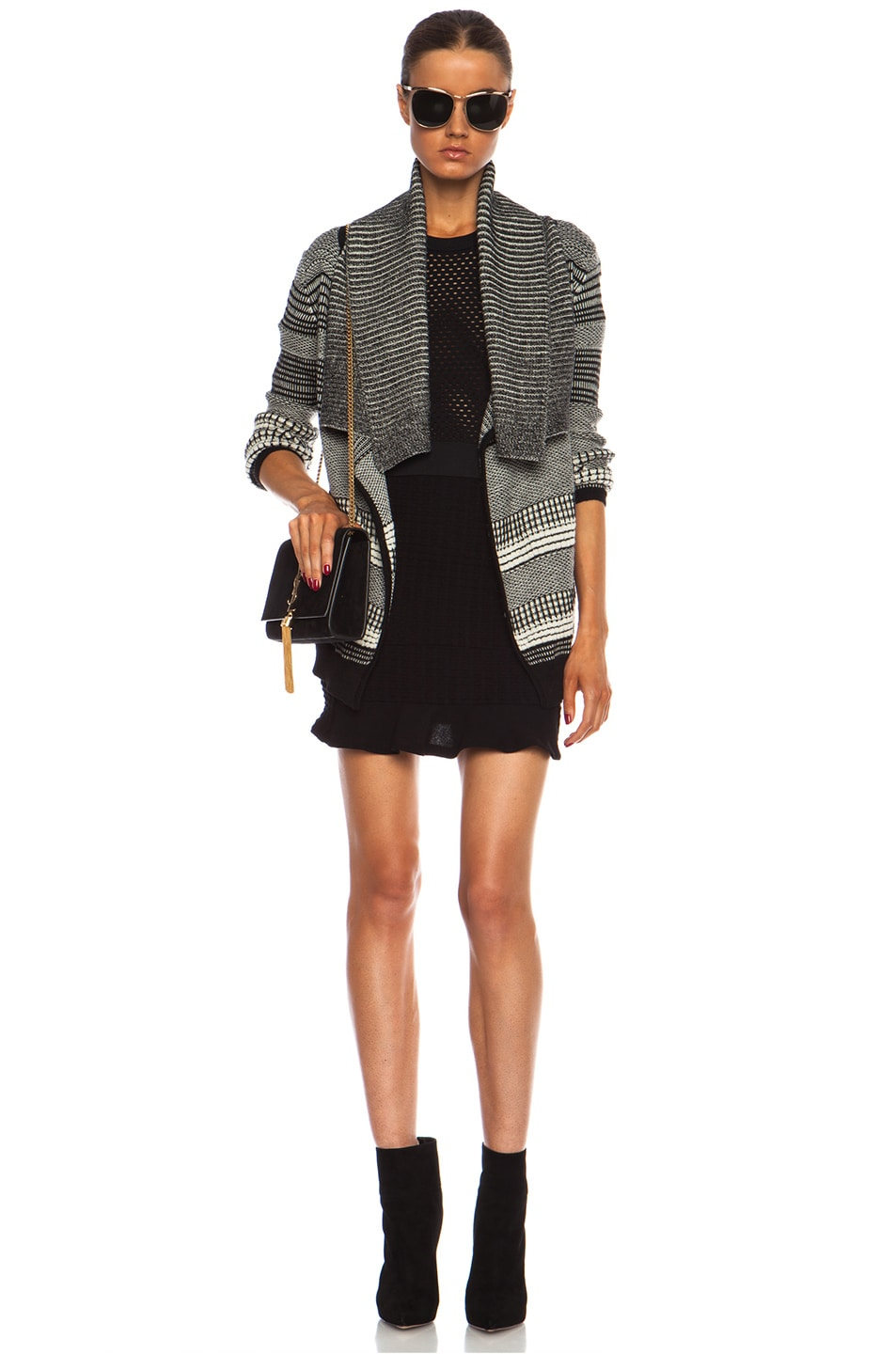 Image 5 of Yigal Azrouel Graphic Jacquard Cardigan in Jet Platinum