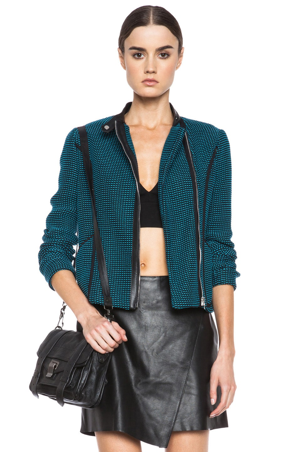 Image 1 of Yigal Azrouel Ribbon Knit Jacket in Jet Black