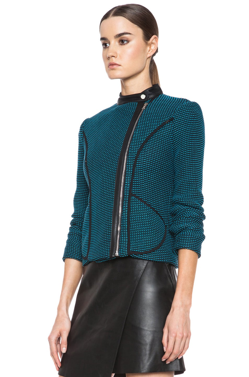 Image 3 of Yigal Azrouel Ribbon Knit Jacket in Jet Black