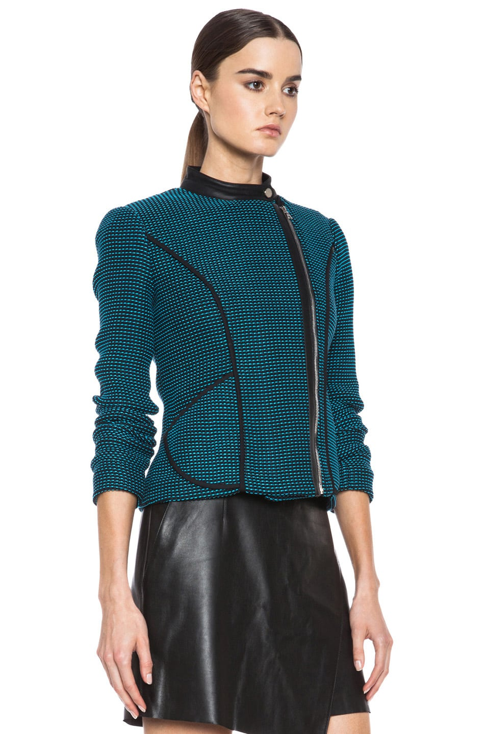 Image 4 of Yigal Azrouel Ribbon Knit Jacket in Jet Black