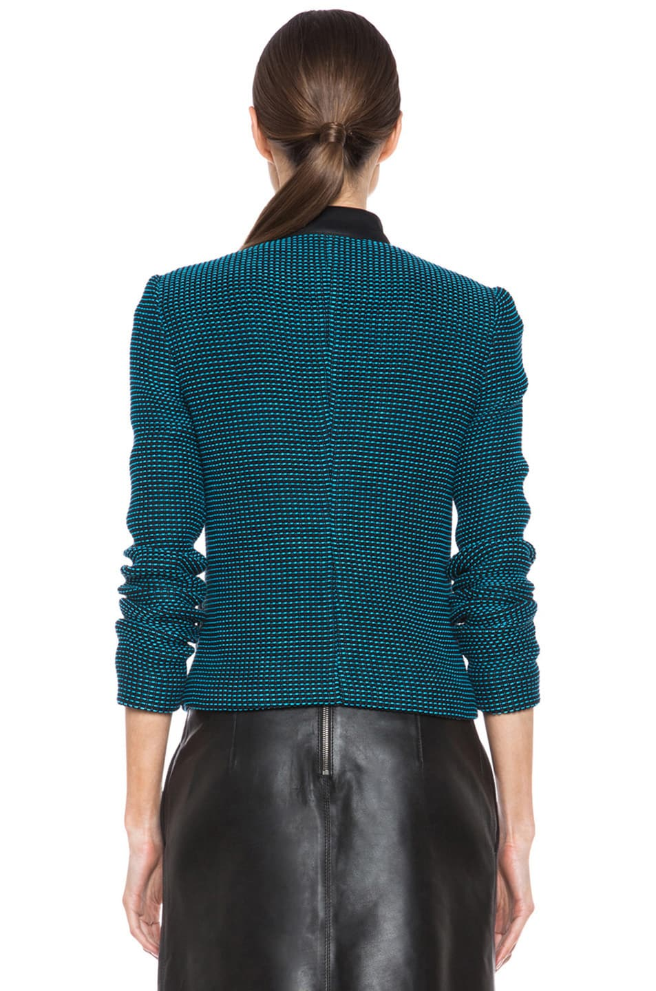 Image 5 of Yigal Azrouel Ribbon Knit Jacket in Jet Black