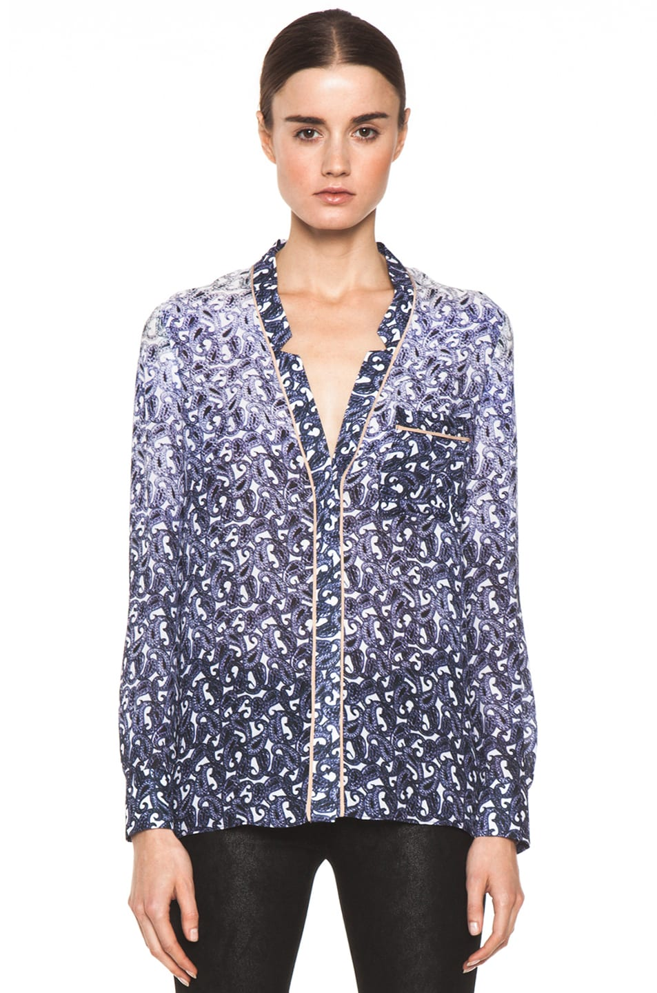 Image 1 of Yigal Azrouel Ombre Paisley Silk Georgette Blouse in Night Multi