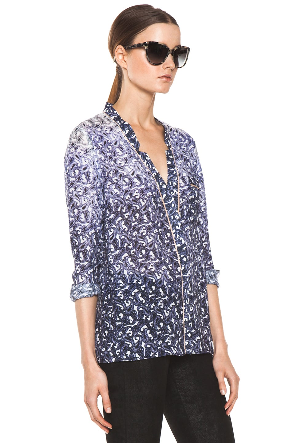 Image 3 of Yigal Azrouel Ombre Paisley Silk Georgette Blouse in Night Multi