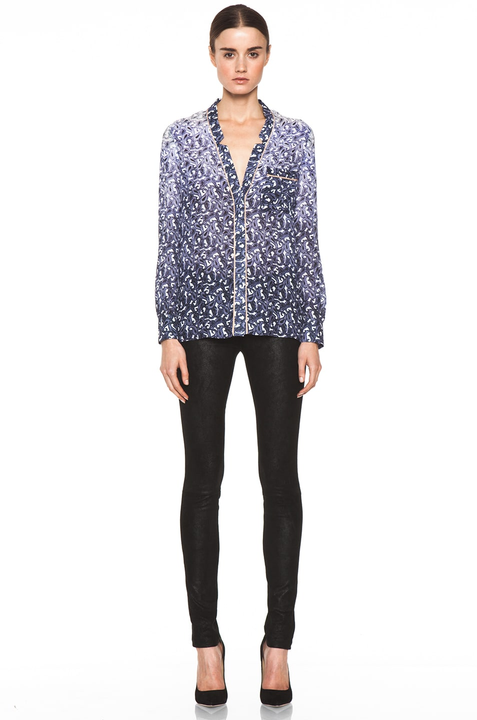 Image 5 of Yigal Azrouel Ombre Paisley Silk Georgette Blouse in Night Multi