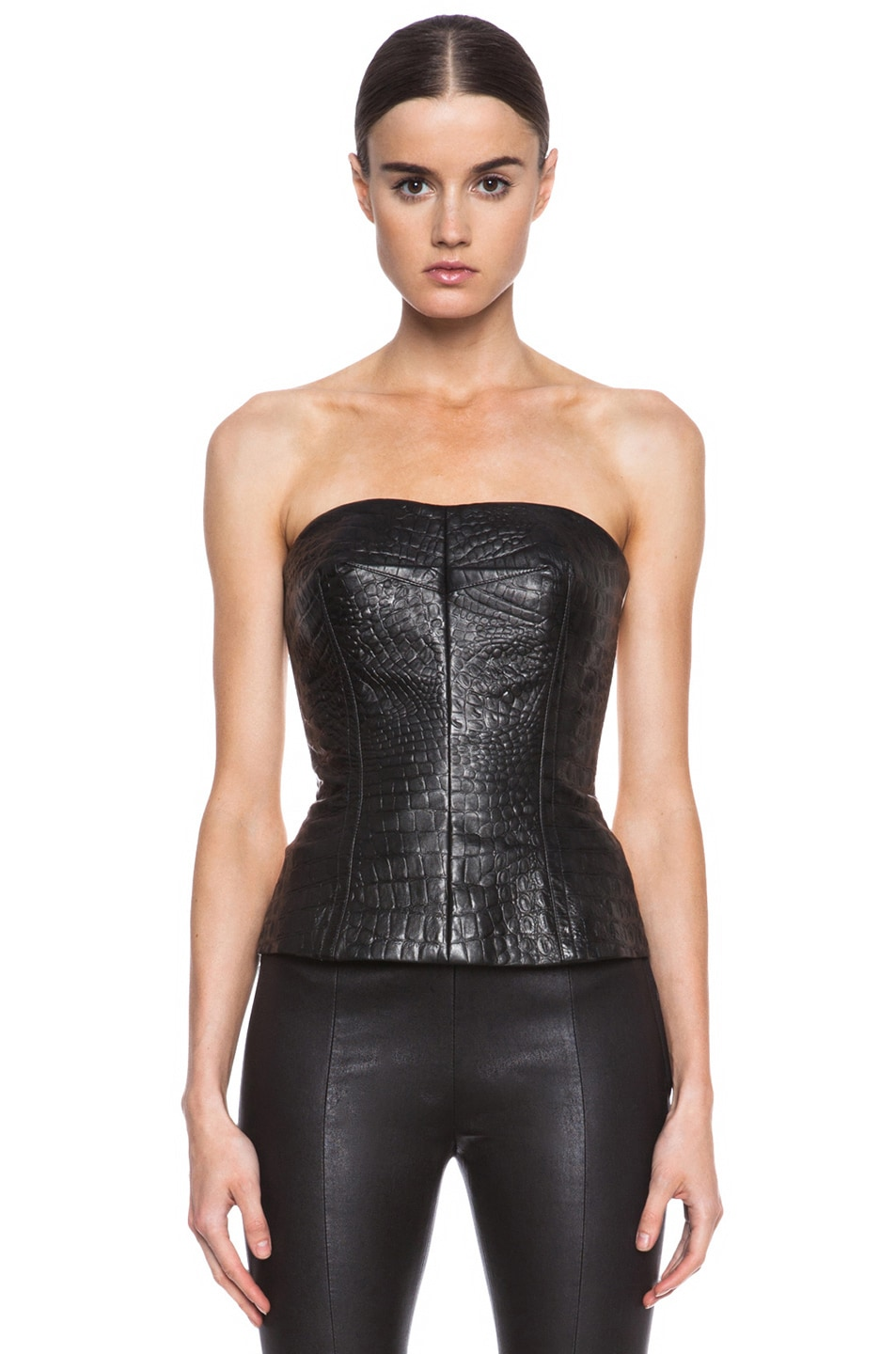 Yigal Azrouel Reptile Leather Bustier In Jet Amp Optic