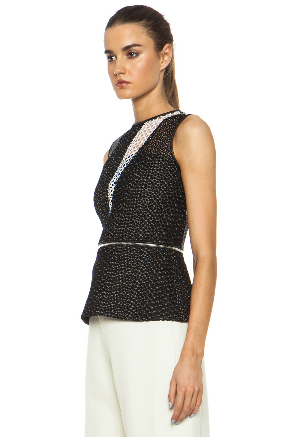 Image 2 of Yigal Azrouel Mesh Cotton-Blend Eyelet Combo Top in Jet Black