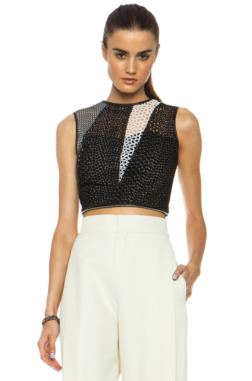 Image 4 of Yigal Azrouel Mesh Cotton-Blend Eyelet Combo Top in Jet Black