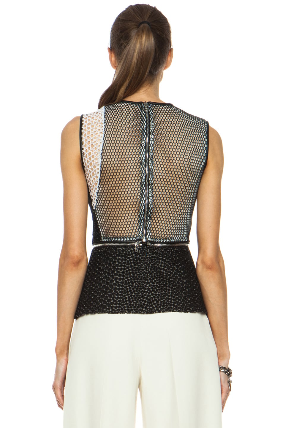 Image 5 of Yigal Azrouel Mesh Cotton-Blend Eyelet Combo Top in Jet Black