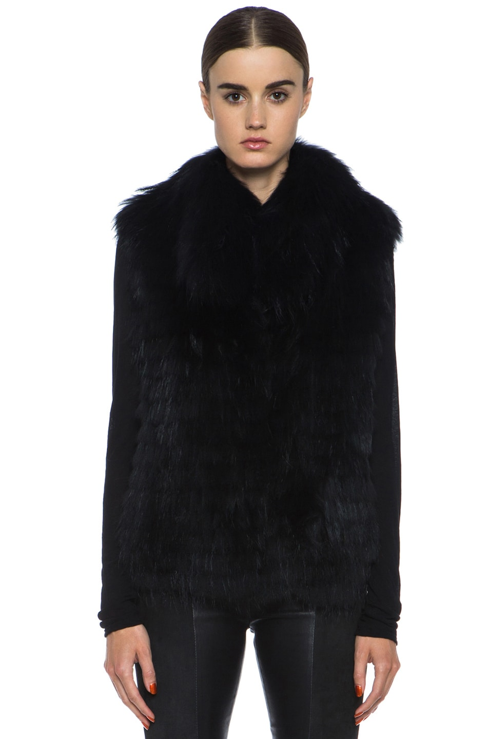 Image 2 of Yves Salomon Fur Vest with Popped Collar in Black