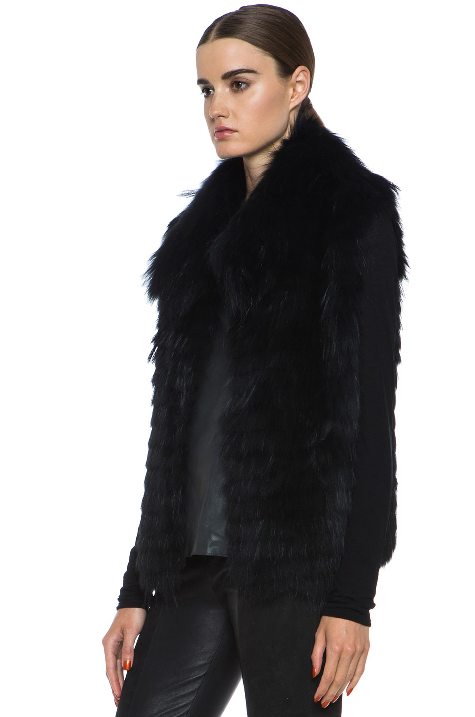 Image 3 of Yves Salomon Fur Vest with Popped Collar in Black