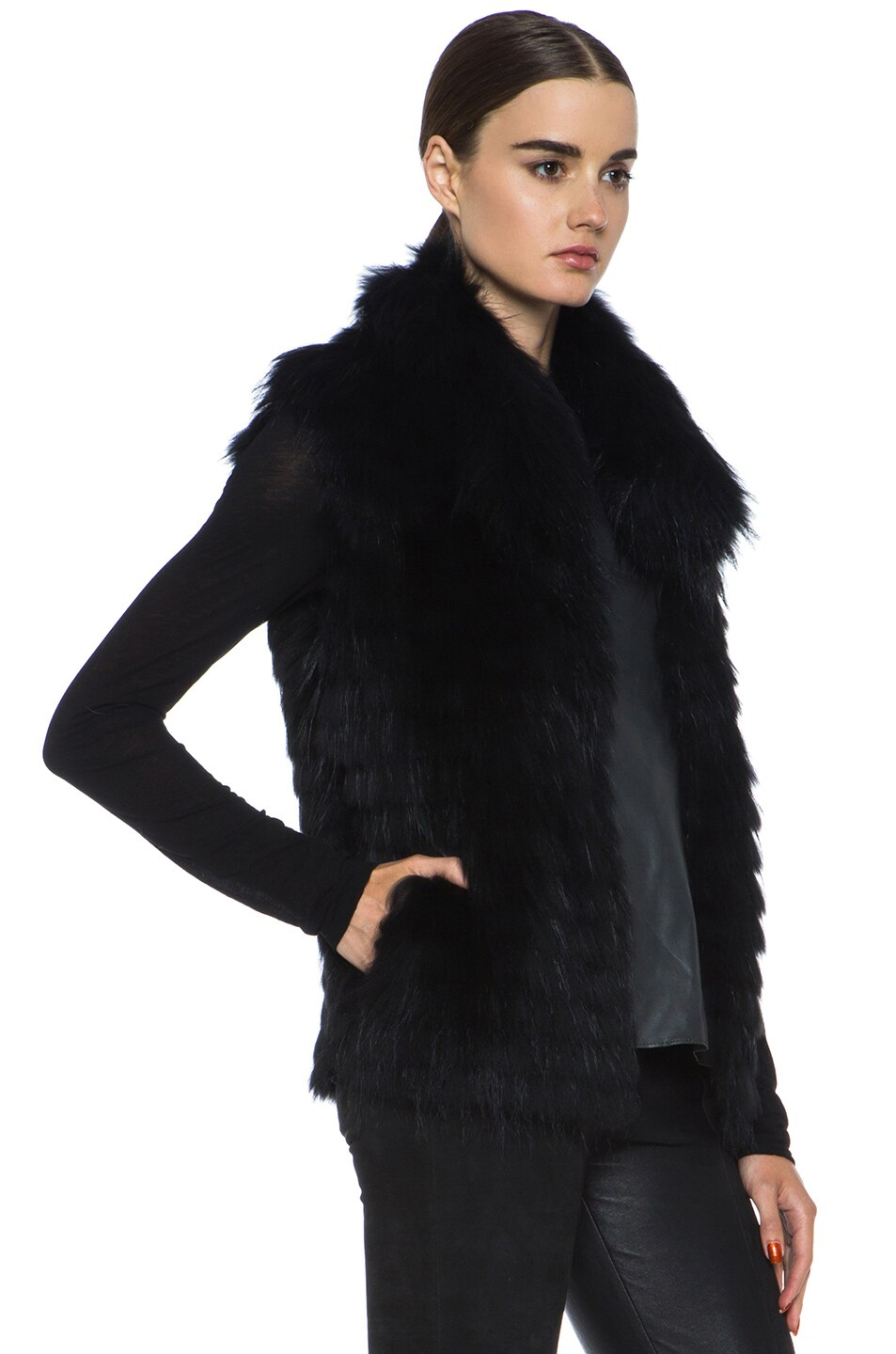 Image 4 of Yves Salomon Fur Vest with Popped Collar in Black