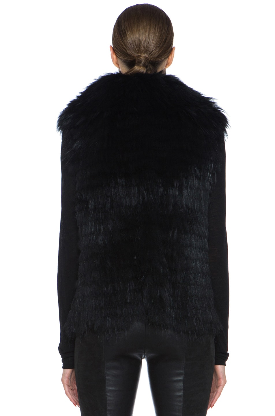 Image 5 of Yves Salomon Fur Vest with Popped Collar in Black