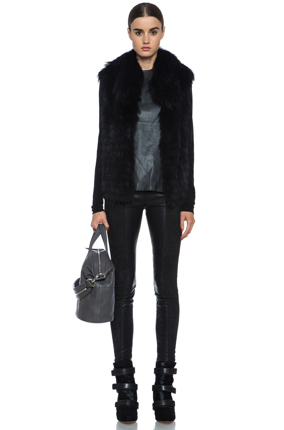 Image 6 of Yves Salomon Fur Vest with Popped Collar in Black