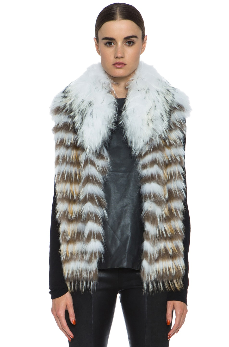 Image 1 of Yves Salomon Fur Vest with Popped Collar in Ivory