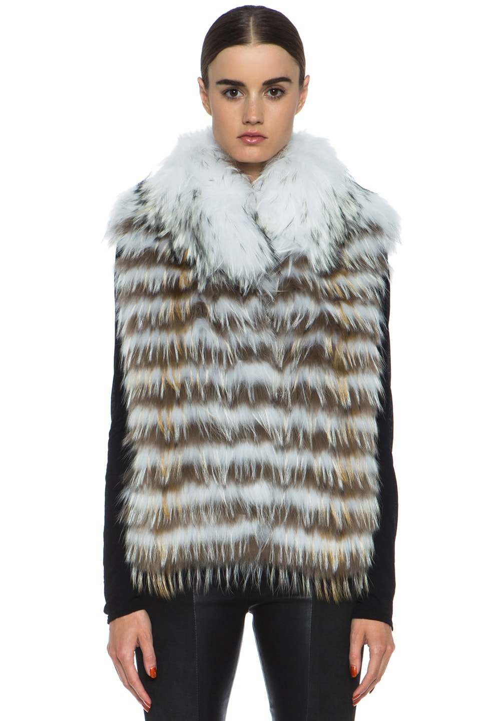 Image 2 of Yves Salomon Fur Vest with Popped Collar in Ivory