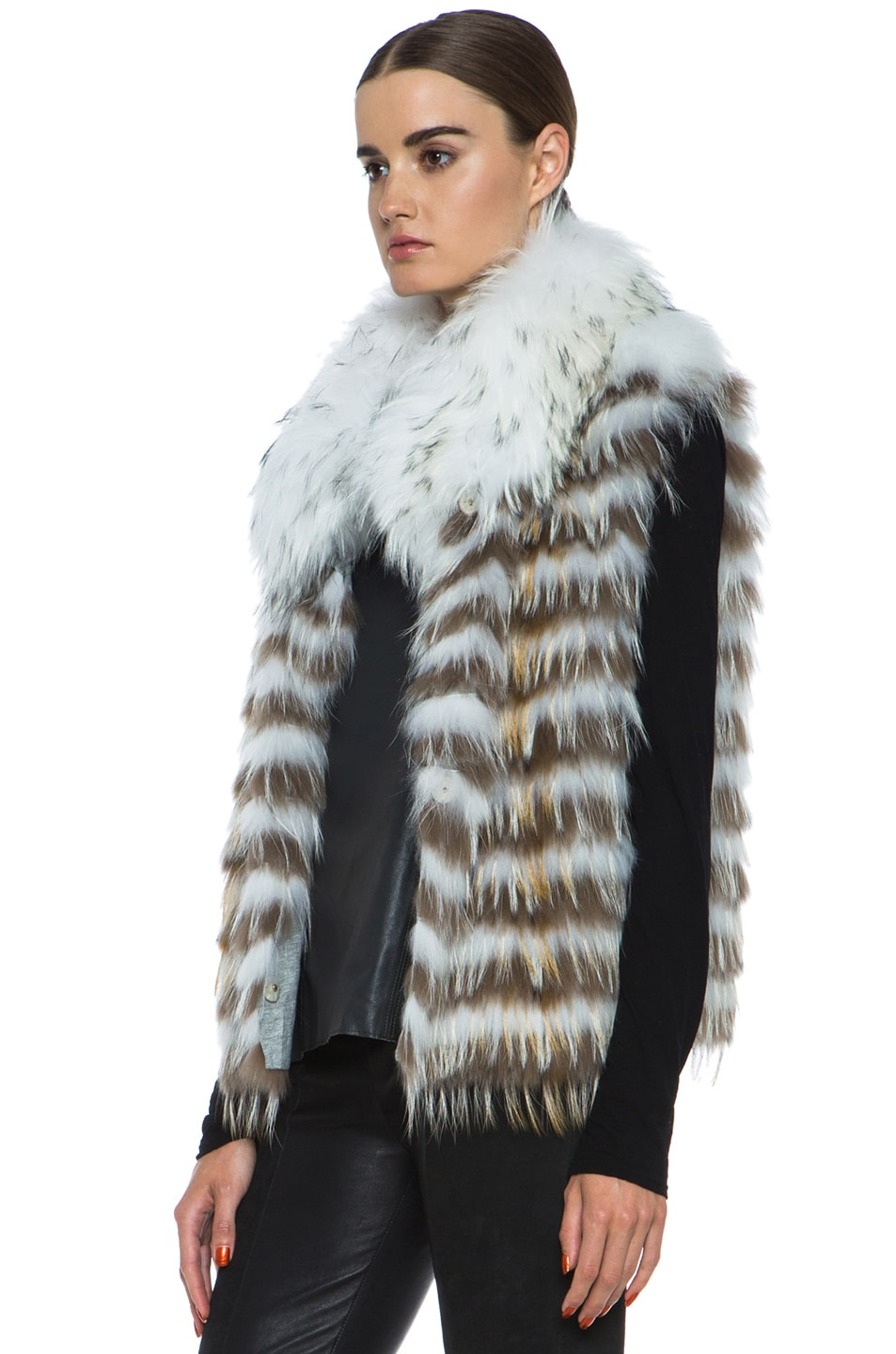Image 3 of Yves Salomon Fur Vest with Popped Collar in Ivory