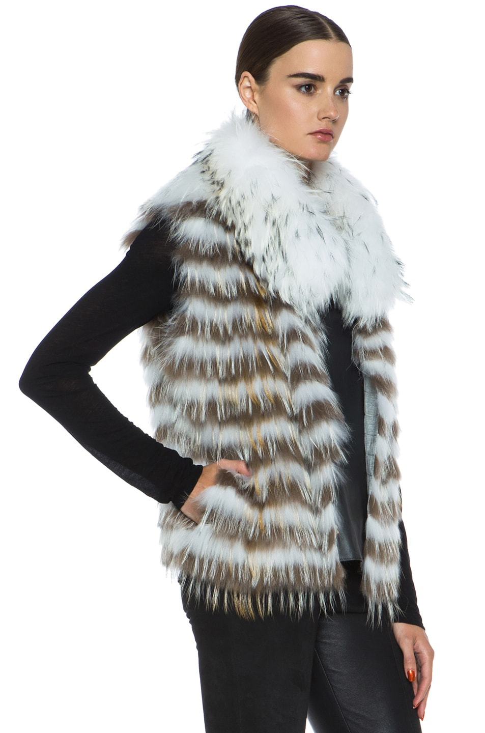 Image 4 of Yves Salomon Fur Vest with Popped Collar in Ivory